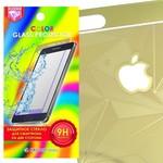 Стекло защитное цветное Krutoff Group для iPhone 6/6S на две стороны с 3D-рисунком (gold)