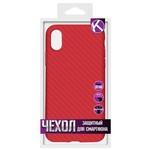 Силиконовая накладка карбон для iPhone X Red