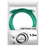 Патч-корд UTP Cablexpert PP12-1.5M/G кат.5e, 1.5м, литой, многожильный (зелёный)