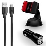 АЗУ Promate AutoKit-HM 2 USB port, 3.1A + кабель Type-C + универсальный автодержатель (black)