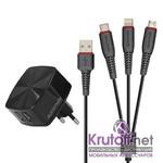 СЗУ Promate FlexCharge 2хUSB 2.4A + кабель 3 в 1 Lightning+Type-C+Micro (1,2m) black