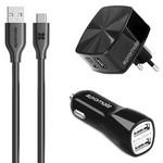 Promate uniCharger СЗУ 2xUSB port, 2.4A + АЗУ 2xUSB port, 3.1A + кабель Type-C (black)