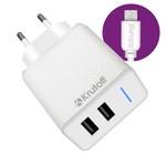 СЗУ Krutoff CH-07M 2xUSB, 2.4A + кабель micro USB (white)