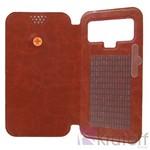 Чехол-книжка Krutoff универсальный для смартфонов 4,5-5 с вырезом под камеру (коричневый)