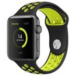Ремешок Krutoff Silicone Sport для Apple Watch 38/40mm (black/yellow) 2