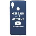 Чехол-накладка Krutoff Silicone Case YouTube для Huawei P Smart 2019/Honor 10 Lite (2019) синий