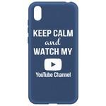 Чехол-накладка Krutoff Silicone Case YouTube для Huawei Y5 (2019)/ Honor 8S/ 8S Prime синий