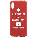 Чехол-накладка Krutoff Silicone Case YouTube для Huawei Y6 (2019)/ Y6s/ Honor 8A/ 8A Pro/ 8A Prime красный