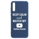 Чехол-накладка Krutoff Silicone Case YouTube для Huawei Y8p/ Honor 30i синий
