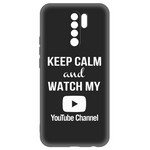 Чехол-накладка Krutoff Silicone Case YouTube для Xiaomi Redmi 9 (черный)