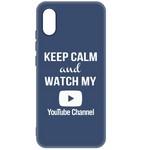 Чехол-накладка Krutoff Silicone Case YouTube для Xiaomi Redmi 9A (синий)