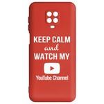 Чехол-накладка Krutoff Silicone Case YouTube для Xiaomi Redmi Note 9 Pro/ 9S (красный)