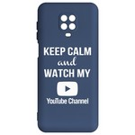 Чехол-накладка Krutoff Silicone Case YouTube для Xiaomi Redmi Note 9 Pro/ 9S (синий)