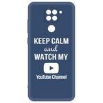 Чехол-накладка Krutoff Silicone Case YouTube для Xiaomi Redmi Note 9 синий