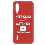 Чехол-накладка Krutoff Silicone Case YouTube для Xiaomi Mi 9 Lite (красный)