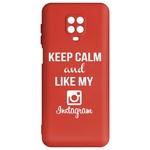 Чехол-накладка Krutoff Silicone Case Instagram для Xiaomi Redmi Note 9 Pro/ 9S (красный)