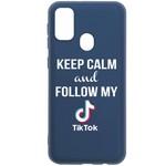 Чехол-накладка Krutoff Silicone Case TikTok для Samsung Galaxy M21 (M215) синий