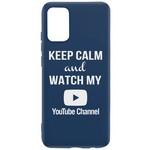 Чехол-накладка Krutoff Silicone Case YouTube для Samsung Galaxy A02s (A025) синий