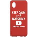 Чехол-накладка Krutoff Silicone Case YouTube для Samsung Galaxy A01 Core (A013) красный