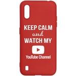 Чехол-накладка Krutoff Silicone Case YouTube для Samsung Galaxy A01/ M01 (A015/ M015) красный