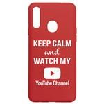Чехол-накладка Krutoff Silicone Case YouTube для Samsung Galaxy A20s (A207) красный