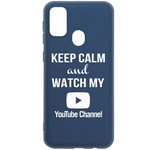 Чехол-накладка Krutoff Silicone Case YouTube для Samsung Galaxy M21 (M215) синий