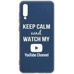 Чехол-накладка Krutoff Silicone Case YouTube для Samsung Galaxy A70 (A705) синий