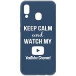 Чехол-накладка Krutoff Silicone Case YouTube для Samsung Galaxy A20/A30 (A205/A305) синий