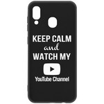 Чехол-накладка Krutoff Silicone Case YouTube для Samsung Galaxy A20/A30 (A205/A305) черный