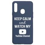 Чехол-накладка Krutoff Silicone Case YouTube для Samsung Galaxy A20s (A207) синий