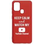 Чехол-накладка Krutoff Silicone Case YouTube для Samsung Galaxy A21s (A217) красный