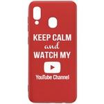 Чехол-накладка Krutoff Silicone Case YouTube для Samsung Galaxy A40 (A405) красный