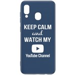 Чехол-накладка Krutoff Silicone Case YouTube для Samsung Galaxy A40 (A405) синий