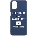 Чехол-накладка Krutoff Silicone Case YouTube для Samsung Galaxy M51 (M515) синий