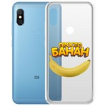 "Чехол-накладка Krutoff Clear Case ""Банан"" для Xiaomi Redmi Note 6 Pro"